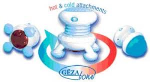 GEZATONE Вибромассажер для тела с функцией «холод-тепло», 2мя сменными насадками и ф-цией прогрева, модель AMG109